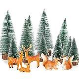 BHGT 15 Pcs Weihnachten Mini Figuren Mini Weihnachtsbaum Künstlich...