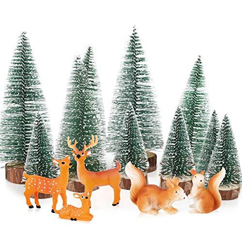 BHGT 15 Mini Adornos Navidad Adornos Navideños en Miniatura Árbol de Navidad Renos Ardillas Decoración Mini Jardín Micro Paisajes Adornos Mesa Navideños