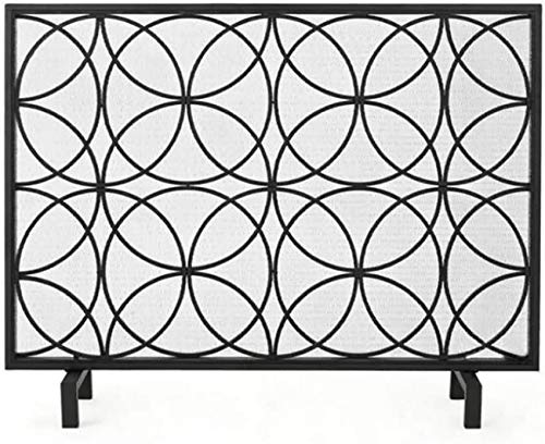 UWY Fireplace Screen Single Panel Wrought Iron Fireplace Screen, Large Decor Standing Gate with Mesh Cover for Baby Safe, Spark Guard and Wood Burning Stove Accessories