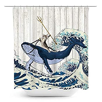 Coxila Funny Cat Shower Curtain Japanese Wave Whale Barn Door 60 x 72 Inch Polyester Fabric Waterproof 12 Pack
