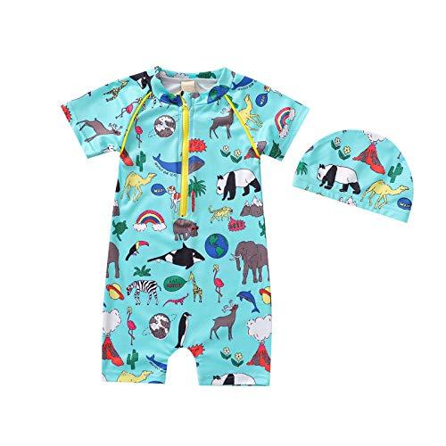Rehomy Conjunto de traje de baño para niños de manga corta con sombrero de playa para natación y baño