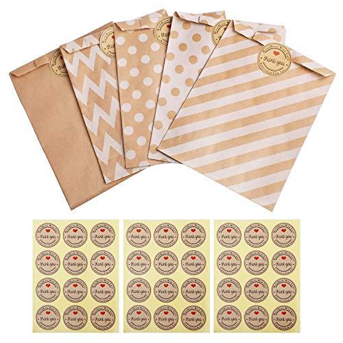 Gudotra 257pack Kit 125pz Sacchetti di Carta Alimenti Caramella Buste Carta Biscotto Bustine Regalo+132 Adesivi Pacchetti Regalo per Natale Compleanno Matrimonio