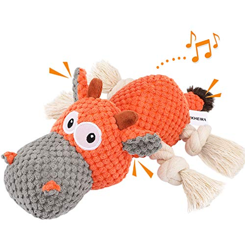 IOKHEIRA Dog Plush Toys Interactive Squeaky Toy for for Aggressive chewers Sturdy Dog Stuffed Animals Toy with Cotton Material and Crinkle Paper Chewing Teeth Health Toys for Large and Small Dogs