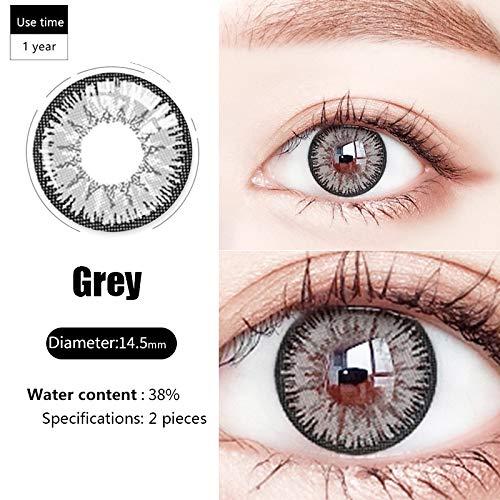 YRUFE Farbige Kontaktlinsen, Beauty-Kontakt mit großem Durchmesser, feuchter und komfortabler Augenfarbwechsler, Augen-Make-up-Zubehör für Cosplay/Halloween (Grau)