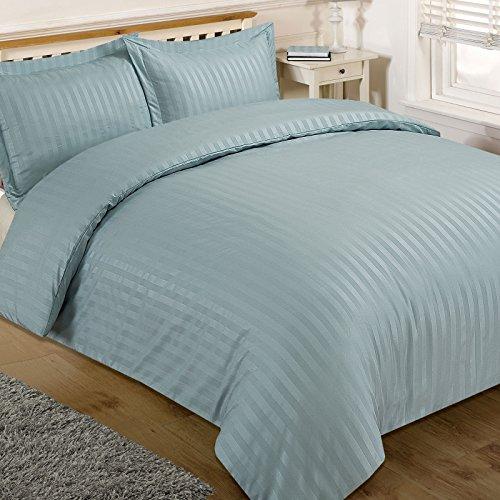 Brentfords Satin Stripe Duvet Cover with Pillow Case Bedding Set Duck Egg Blue - Double Size
