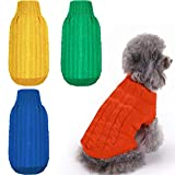 4 Pieces Dog Sweater Pet Sweater Classic Cable Knit Turtleneck Winter Warm Pet Sweatshirt for Small Medium Dogs Cats (S)