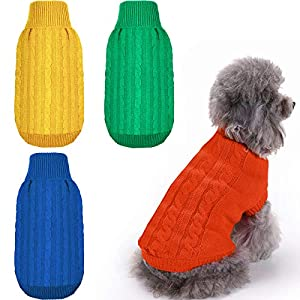 Geyoga 4 Pieces Dog Sweater Pet Sweater Classic Cable Knit Turtleneck Winter Warm Pet Sweatshirt for Small Medium Dogs Cats