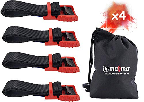 Magma Spanngurte | Mit Gummischnalle | Sichere Verladung von Kajak, Kanu, Gepäck, Surfboard, Fahrrad auf Dachgepäckträger | Schnelles Öffnen & Verzurren | Bruchfestigkeit 500kg (Rot, 1m - 4units)