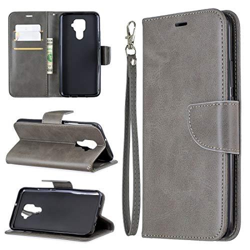 LENASH Para Huawei Mate 30 Lite Retro Lambskin Textura Pura Cor Horizontal Flip PU Caixa de couro PU com suporte e carteira de cartão e carteira e cordão (preto). (Color : Grey)