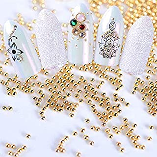 BlueZOO 4 Boxes/set Mini Steel Ball Caviar Beads 3D Nail Decoration Gold Silver Champagne White Studs Manicure Nail Art Accessories