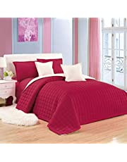 طقم لحاف مفرش سرير مضغوط لونين 6 قطع من موون، مقاس مفرد
