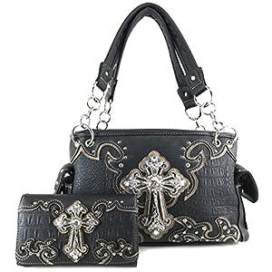 Justin West Concealed Carry Western Croc Cross Duo Color Shoulder Handbag Purse (Black Handbag Set)