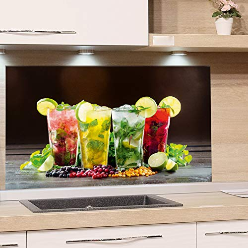 GRAZDesign Rückwand Küche Bar - Küchen Spritzschutz Herd Cocktail - Küchenrückwand Glas Cocktailbar / 100x50cm