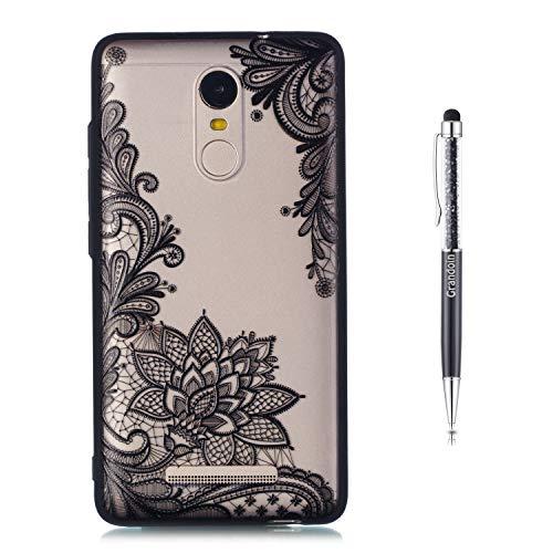 Grandoin Redmi Note 3 Hülle, 2 in 1 Ultra Dünne Schale Ultra Dünn Weich TPU Bumper Case Silikon Schutzhülle Handy Tasche für Xiaomi Redmi Note 3 (Schwarzer Lotus)