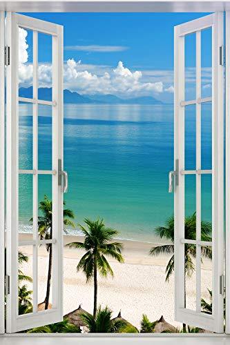 Poster Fenster zum tropischen Palmenstrand - Größe 61 x 91,5 cm - Maxiposter