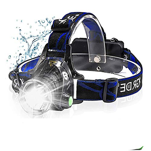 Linterna frontal LED recargable, zoom, impermeable, tres modos de interruptor de luz, carga USB, camping