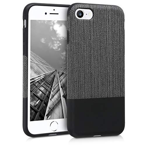 kwmobile Hülle kompatibel mit Apple iPhone 7/8 / SE (2020) - Canvas TPU Hülle Handy Schutzhülle - Backcover Cover Anthrazit Schwarz