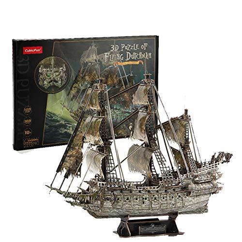 SNOWER Rompecabezas 3D, Modelo Flying Dutchman Ship Toy DIY Pirate Ship Building Bricks Kit, Flying Dutchman Pirate Ship Jigsaw Puzzle, 360 Piezas