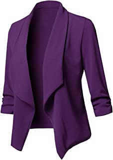 c260fc5ab7 Uranus Veste de Tailleur Femme Chic Couleur Unie Blazer Cintré Casual  Grande Taille Manteau Asymétrique