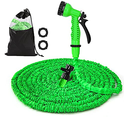 50FT Water Hose Expandable Garden Hose - Flexible Lightweight Water Hose, 7Function Spray Nozzle, Triple Layer Latex Core Water Pipe & Extra Strength Fabric, Easy Storage Kink Free Hoses (Green)