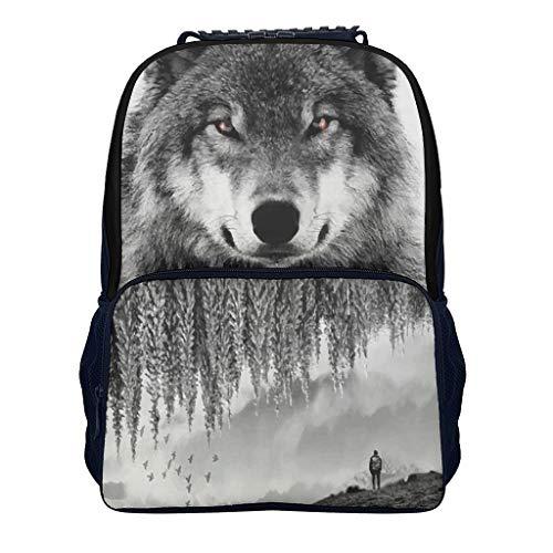 blackblack wolf Adult's Kindergarten Backpack Elementary All Over Print Travel white onesize