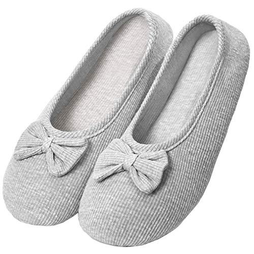 Solshine Damen Baumwolle Geschlossene Hausschuhe Ballerina Slippers T002 Grau 37/38EU