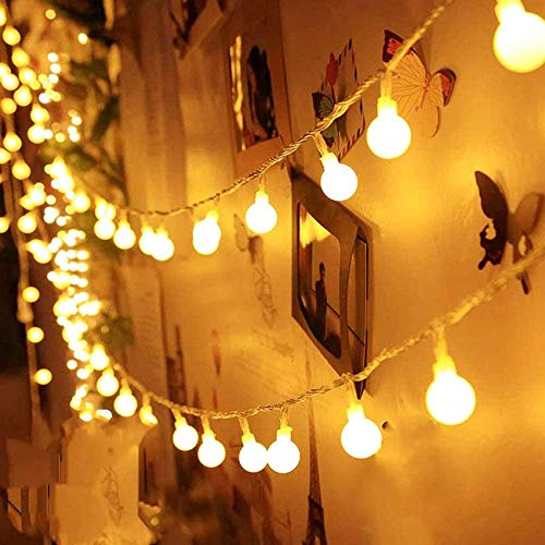 Globe Fairy String Lights USB/Battery Powered 55FT/17M 100Ds Indoor String Lights 8 Modes Waterproof with Remote Timer for Bedroom Christmas Wedding Garden Party Decoration-Warm White BJY969