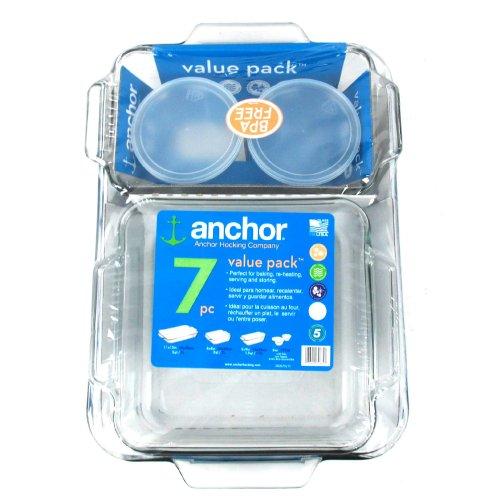 Anchor Hocking Clear Glass Bakeware Set, 7 Piece Set