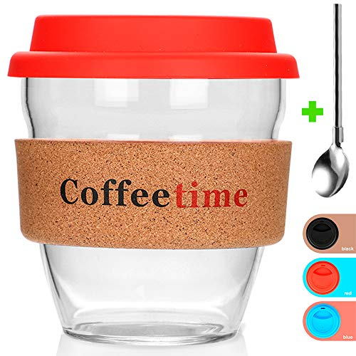 Reusable Glass Coffee Travel Mug with Lid and Non-slip Sleeve Dishwasher - Microwave Safe Cup Portable Durable Drinking Tumbler Eco-Friendly BPA-Free - Includes Coffee spoon with 3 Silicone Cups