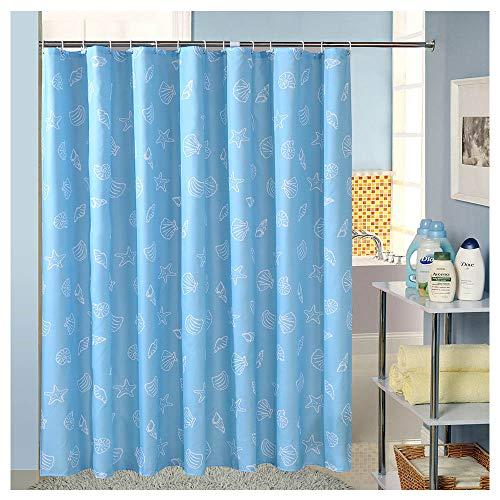 LShe 72 x 72 inches Shower Curtain Mediterranean Blue Shell Conch Sea Star Ocean World Turquoise Machine Washable Fabric Bathroom Decor Set with Hooks Bath Curtain