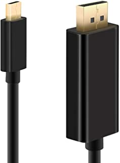 USB C till DisplayPort-kabel (4K@60Hz, 2K @165Hz, 2K @144Hz) WARRKY 2 m/6.6 fot [guldpläterad, aluminiumskal] USB typ C/Th...