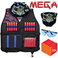 Kids Tactical Vest Kit for Nerf Guns N-Strike Mega Series with Refill Darts, Reload Clips, Tactical Mask and Protective Glasses for Kids by Hely Cancy