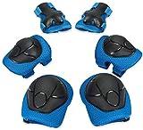 CRZKO Protection Roller Enfant, Kit de Protection 6 en 1 pour Enfant, Coudière et Genouillère, Ensemble de Protection pour, Bleu, taille- S (3-8 ans)