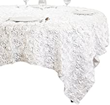 LinenTablecloth Rosette Overlay Tablecloth 85 Inch