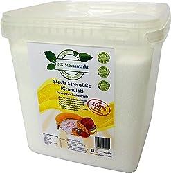 HNK Stevia Streusüße Granulat mit Erythrit, 1er BOX 4,5 Kg | 100Pr Natürlicher Geschmack - Ohne Kalorien | Premium Qualität