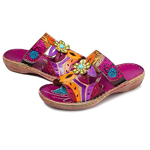 CrazycatZ Damen Leder Sandalen, Sommer Gladiator Flache Sandalen Bunte Schuhe (37 EU, ROSA)
