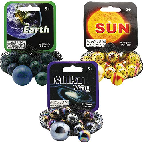 Mega Marbles 3 Pack - Sun, Earth, & Milky Way Game Nets - Includes 1 Shooter Marble & 24 Player Marbles Per Net