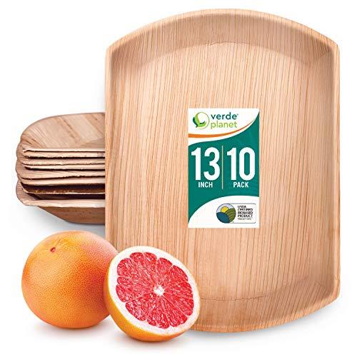 Verde Planet - 13 inch Rectangular Palm Leaf Trays - Biodegradable, Ecofriendly, Disposable, Sturdy, Elegant, Premium Quality Plates - 10 Count