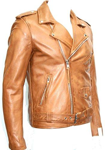 Boots and Leather Immobilier Nappa Souple Man Tan Brando Couleur Style Motard Blouson de Cuir (UK 3XL / EU 58)