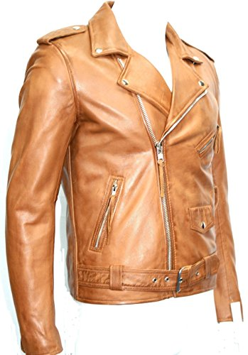 Boots and Leather Immobilier Nappa Souple Man Tan Brando Couleur Style Motard Blouson de Cuir (UK 3XL / EU 58)