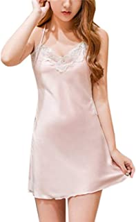 Nightdress Womens Sexy Satin Sling Backless Sleepwear Lingerie Lace Underwear