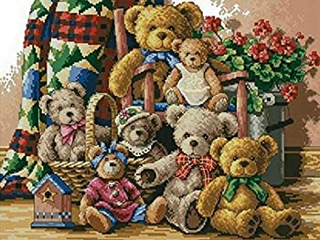 Zimal DIY 3D Diamond Painting Cross Stitch Round Full Rhinestone Picture Diamond Embroidery Teddy Bear for Children Home Decoration 11.8 X 15.8 Inch