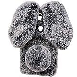 HTC Desire 12Plus Art Case, Handmade Fluffy Villi Rabbit