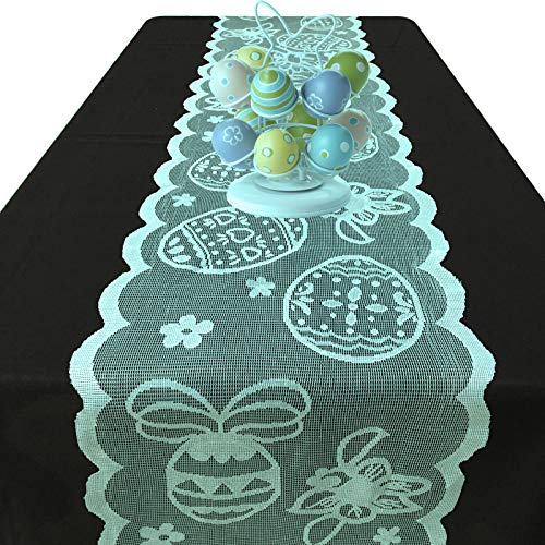 Joysail Lace Easter Table Runners 72 Inches Long - Spring Easter Eggs Table Runner - Easter Table Decorations for Home Dining Room - Easter Party Decorations and Supplies (Blue)