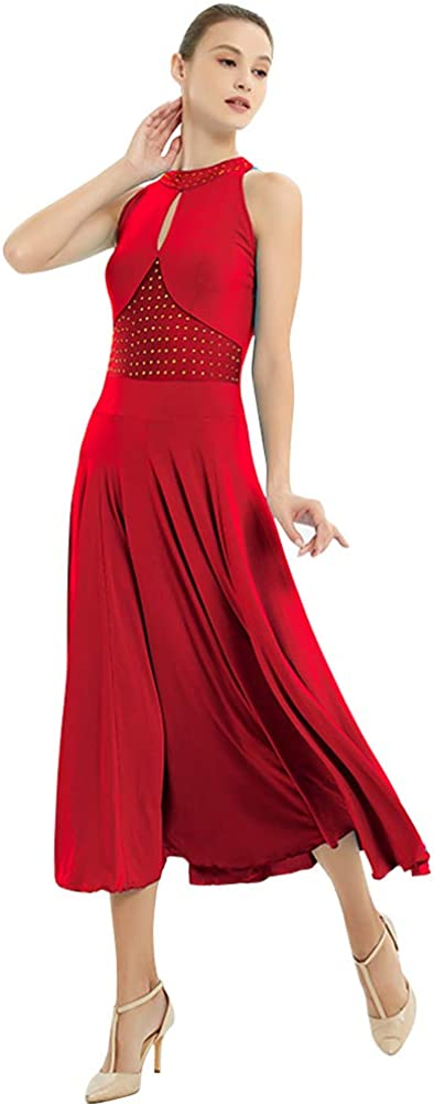 YUMEIREN Womens Rhinestone Sleeveless Competition Dealing full price reduction Don't miss the campaign Dance Ballroom