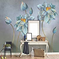 3D壁画手描き油絵花レトロ北欧ミニマリストリビングルームソファ背景壁家の装飾壁紙-350x256cm