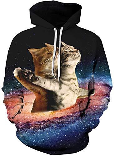 Loveternal Gato Sudadera Galaxy Hoodie Algodón Terciopelo Activo Deporte Gimnasio Entrenamiento Galaxia Sudadera con Capucha para Mujeres Hombres XXL