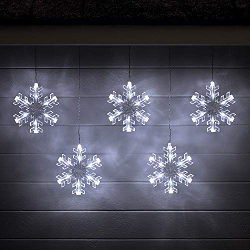 Lights4fun, Inc. Battery Operated Cool White LED Snowflake Hanging Christmas Light Decoration for Indoor & Outdoor