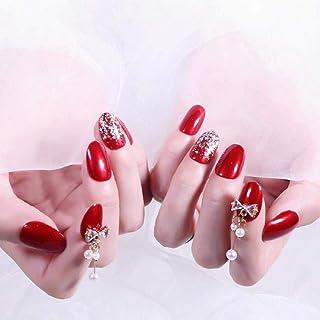 DQPCC Uñas postizas 24Pcs / Boxed Bride Medium Long Style Press On Nails Studio Photo Fotografía de la boda Uñas postizas terminadas para mujeres