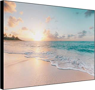 Leyiyi 16x12 Inches Framed Canvas Wall Art Summer Seascape Picture Beach Blue Sky White Clouds Sunset Glow Canvas Picture ...